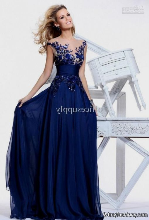 Navy blue wedding dresses with sleeves 2016 2017 b2b fashion for Blue wedding dress with sleeves