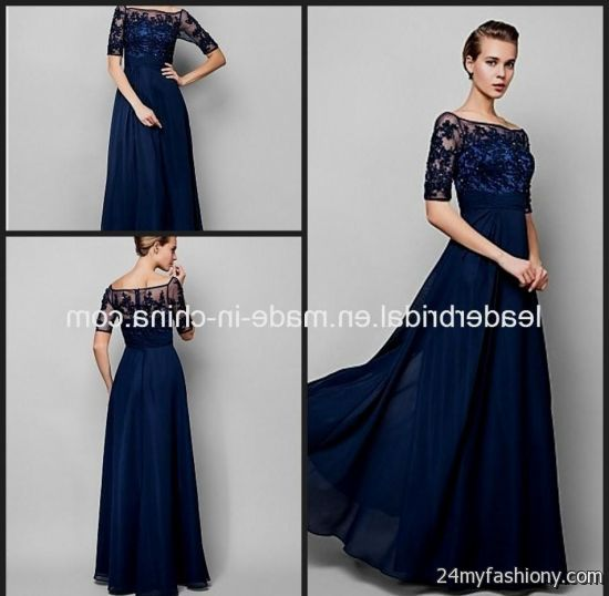 Navy Blue Wedding Dresses With Sleeves 2016 2017 B2b Fashion