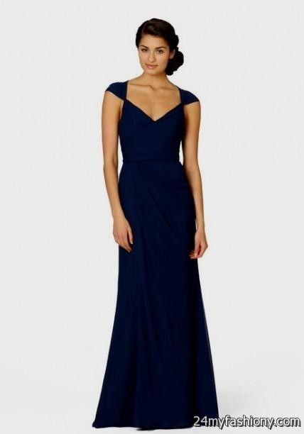 Navy blue wedding dresses with sleeves 2016 2017 b2b fashion for Navy blue dresses for weddings