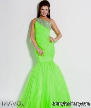 Neon yellow prom dresses