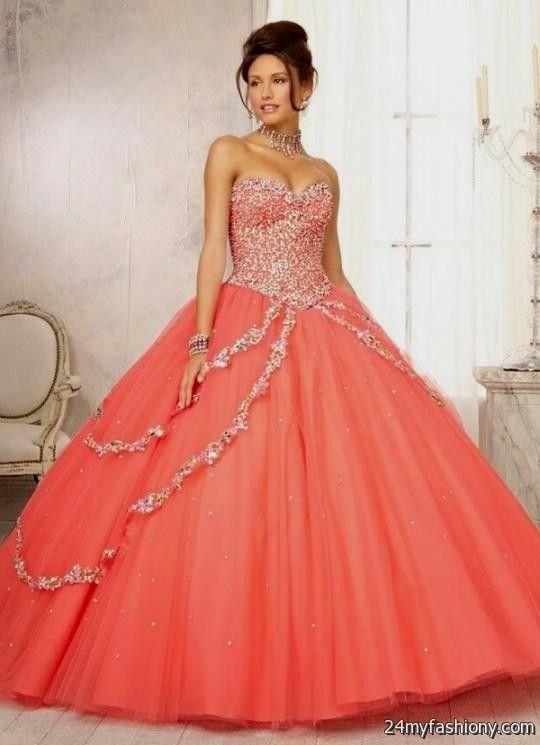 Neon orange quinceanera dresses