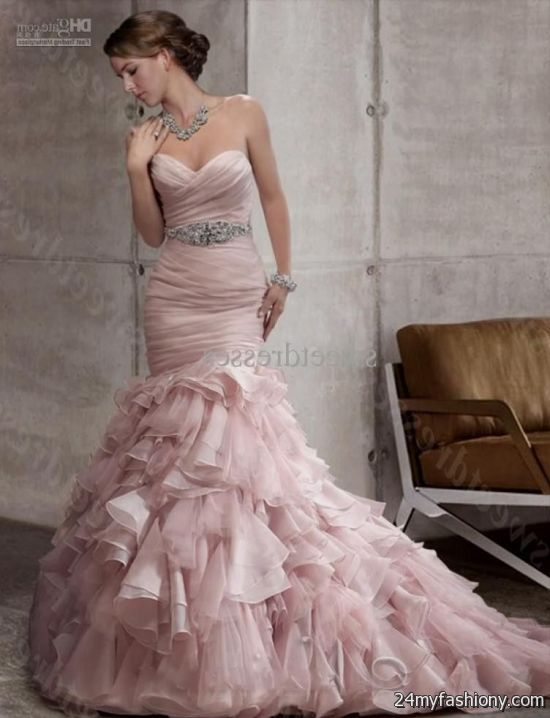 pink mermaid wedding dress 2016-2017