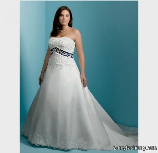 Plus Size Blue And White Wedding Dress 2016 2017 B2b Fashion