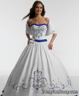 plus size blue and white wedding dress 2016-2017 | B2B Fashion