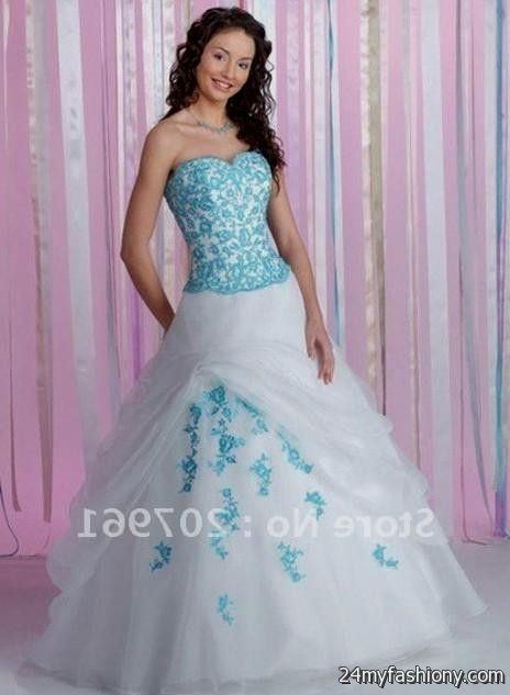 Plus size wedding dress blue and white wedding dresses asian for Blue wedding dresses plus size