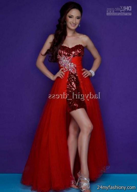 Red Prom Dresses 2014 High Low