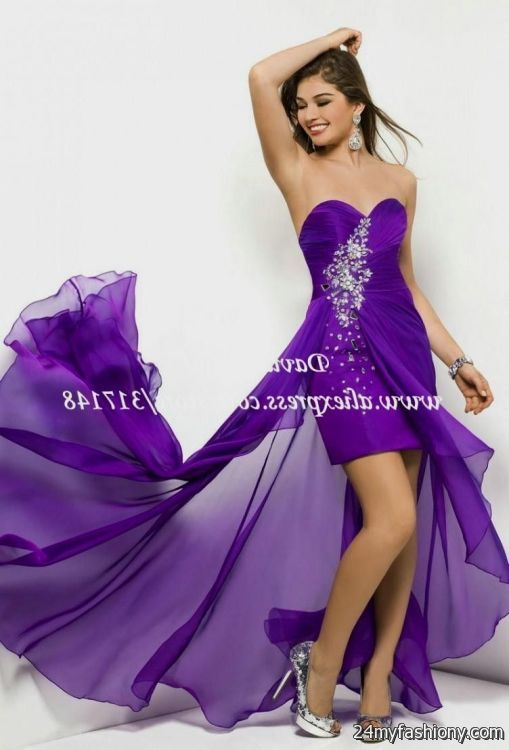 Silver Purple Short Prom Dresses