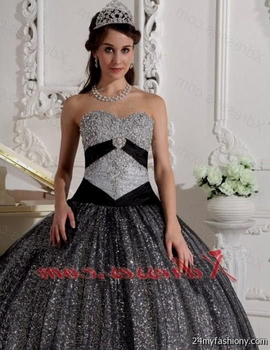 5e84a052c0 You will be the queen of the ball in one of these elegant and poised prom  dresses. You can share these quinceanera dresses black and silver on  Facebook ...