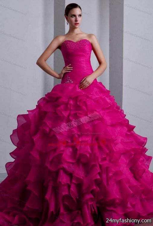 Quinceanera dresses color fuchsia dress