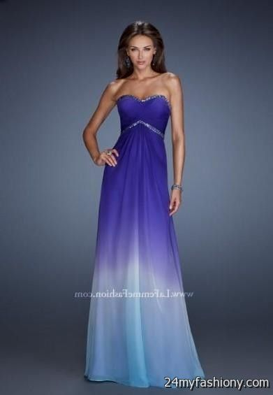 Purple And Blue Ombre Bridesmaid Dresses - Short Hair Fashions