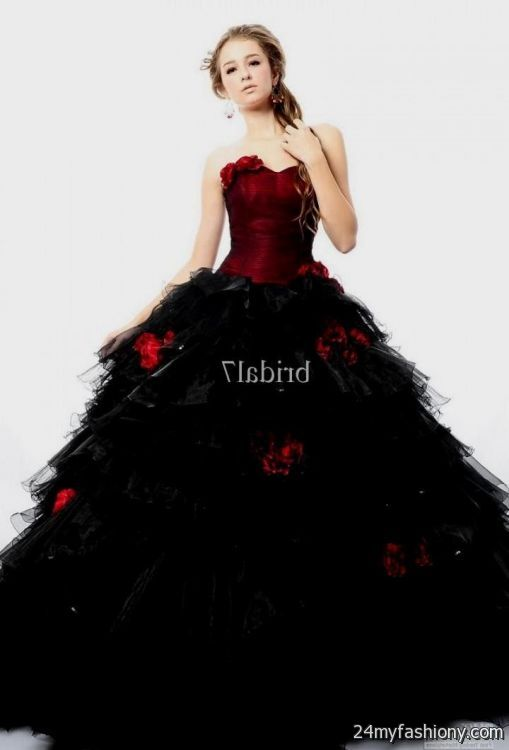 red and black ball gowns with sleeves 2016-2017 | B2B Fashion