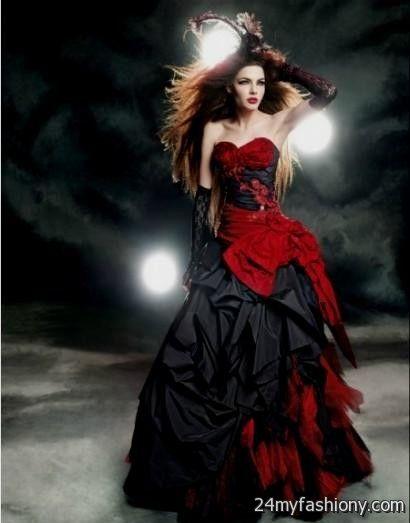 Red and black corset wedding dresses 2016 2017 b2b fashion for Black corset wedding dresses