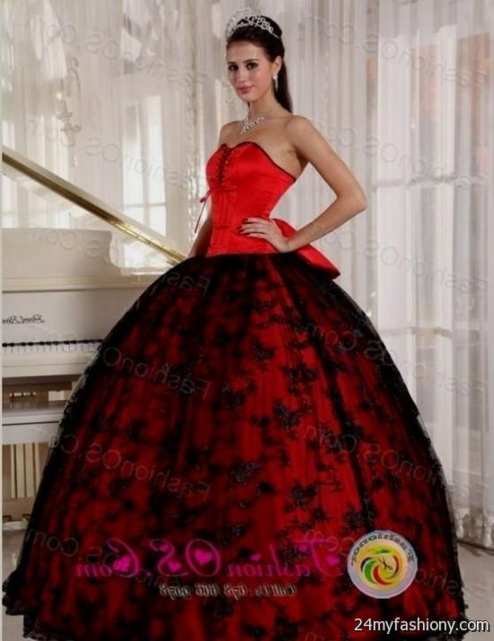 red and black lace quinceanera dresses 2016-2017 | B2B Fashion