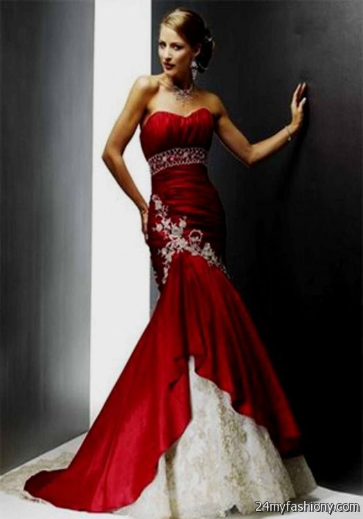 Red Silver Wedding Dresses