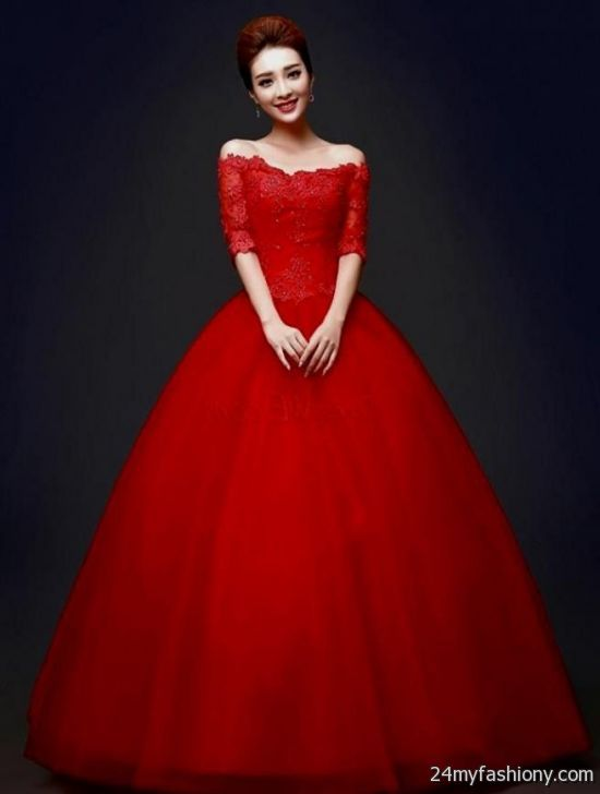 Red Ball Gown With Sleeves 2016 2017 B2b Fashion