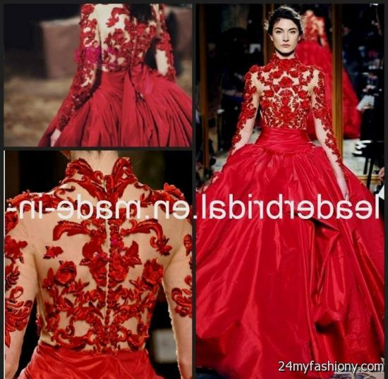 Red Ball Gown With Sleeves Looks B2b Fashion