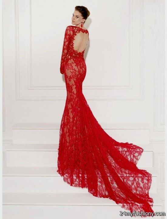 Red Mermaid Dress with Sleeves