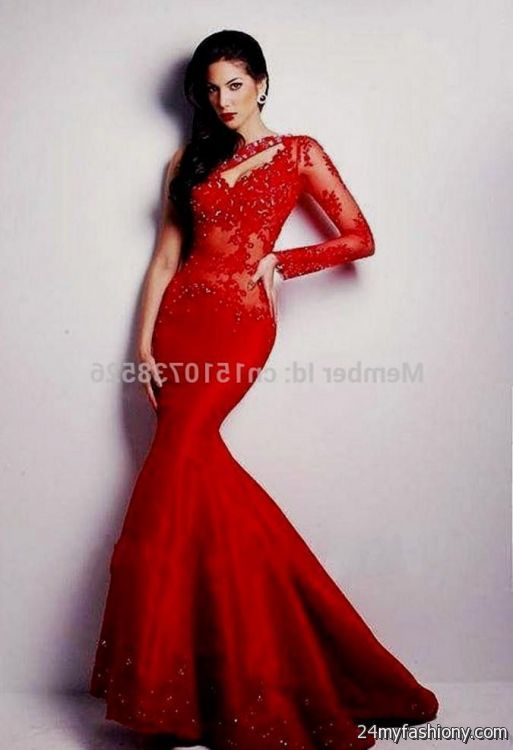 Red One Shoulder Long Sleeve Prom Dress 2016 2017 B2b Fashion
