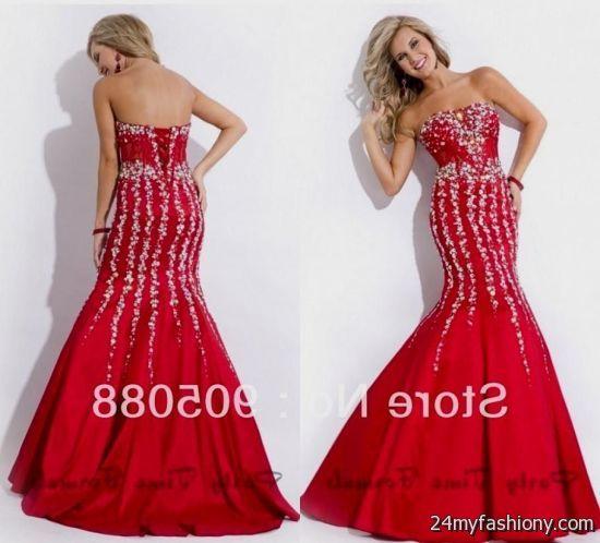 red sparkly mermaid prom dress 20162017 b2b fashion