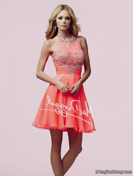 Neon short coral prom dresses