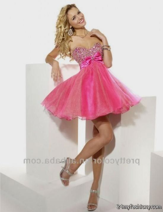 Short Pink Prom Dress With A Bow - Missy Dress
