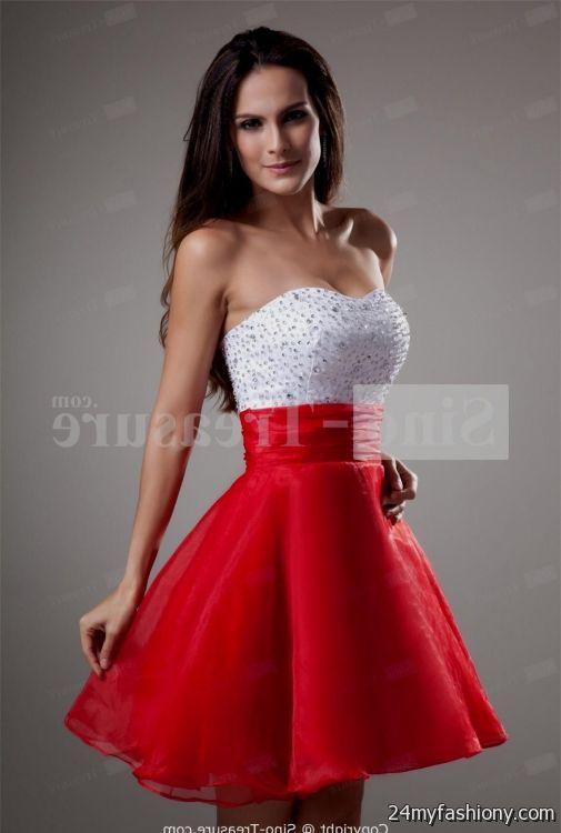 Short Red And White Prom Dresses 2016 2017 B2b Fashion