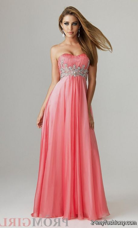 Strapless Coral Prom Dresses