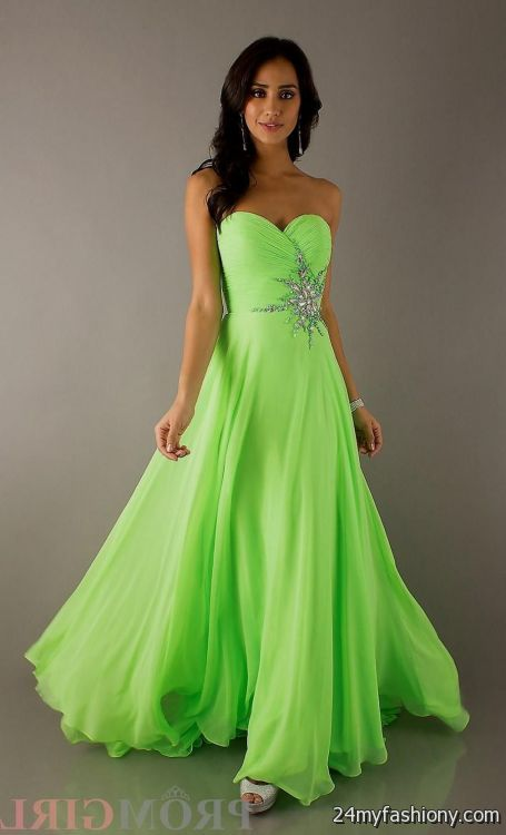 Strapless Lime Green Dresses