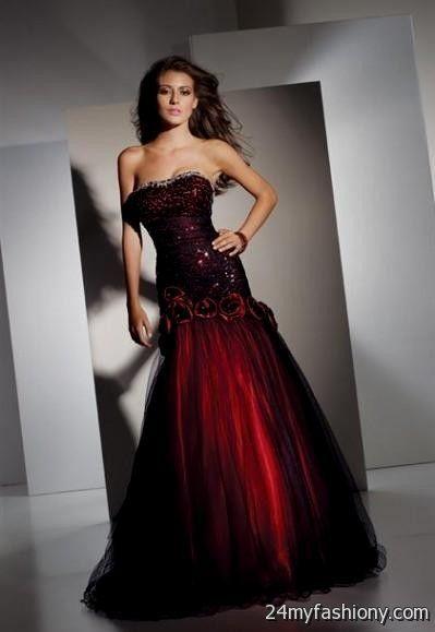 Strapless Red And Black Prom Dresses Looks B2b Fashion