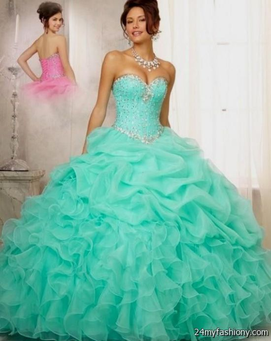 eae77653d68 You will be the queen of the ball in one of these elegant and poised prom  dresses. You can share these sweet 15 dresses blue and gold on Facebook ...
