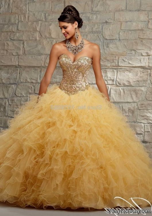 d928ad0de5c You can share these sweet 15 dresses gold and pink on Facebook
