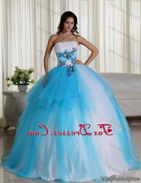 2923e146977 You will be the queen of the ball in one of these elegant and poised prom  dresses. You can share these turquoise and white quinceanera dresses on  Facebook ...