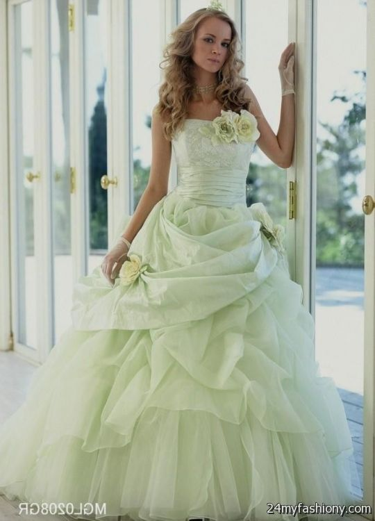 White And Lime Green Wedding Dress 2016 2017