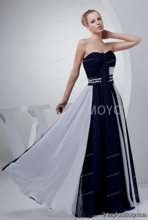 White and navy blue wedding dresses 2016 2017 b2b fashion for Navy dresses for weddings