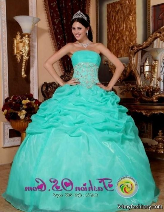 166bba70fa3 You can share these white and turquoise quinceanera dresses on Facebook