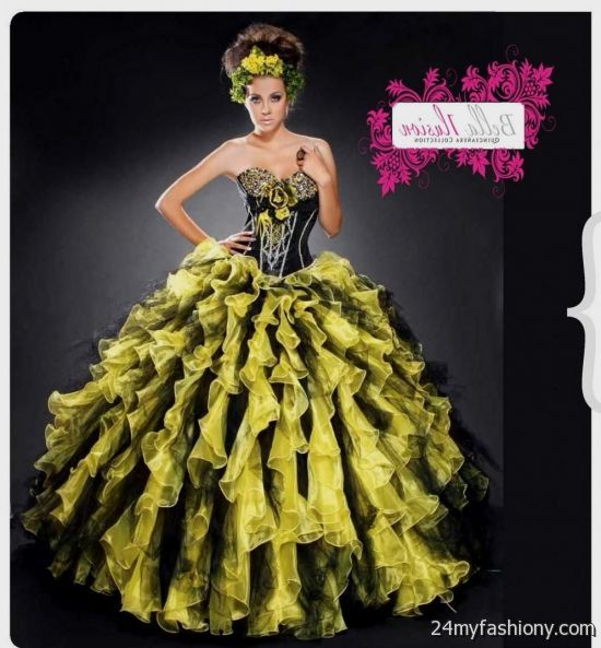 3fb0fb1a46 You can share these yellow and black quinceanera dresses on Facebook