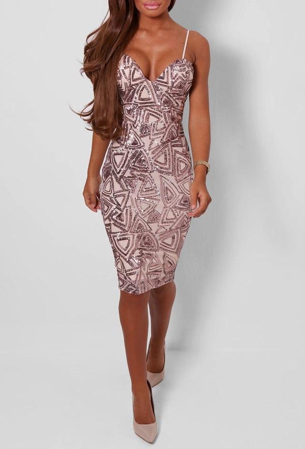 Plus Size Gold Sequin Dress Looks B2b Fashion