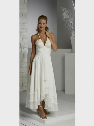 Tea Length Halter Wedding Dress