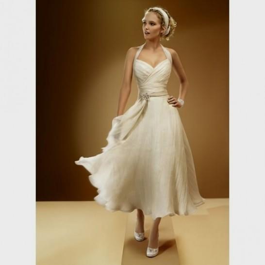 Beach wedding dress tea length halter 2016 2017 b2b fashion for Midi length wedding dress