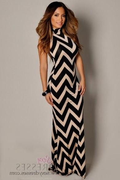 Beige and black maxi dress