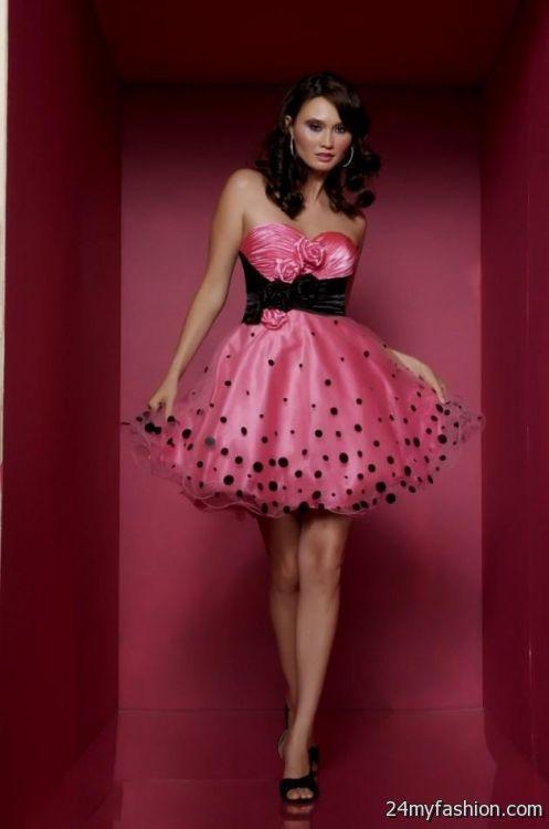 black and hot pink cocktail dress 2016-2017 | B2B Fashion