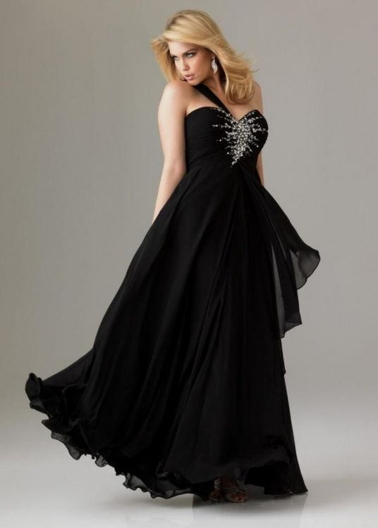 Plus Size Black and Silver Prom Dress