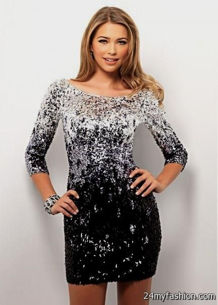 black and silver sequin dress with sleeves 2016-2017 » B2B Fashion