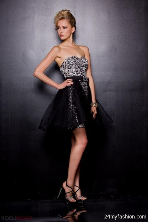 Silver and black short prom dress photo photo