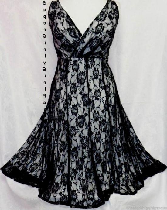 Black lace skater dress plus size 2017