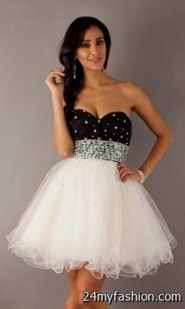 Black and White Short Formal Dresses