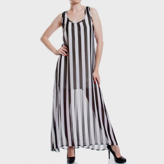 black and white vertical striped maxi dress 20162017
