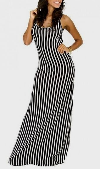 Black And White Vertical Striped Maxi Dress 2016 2017