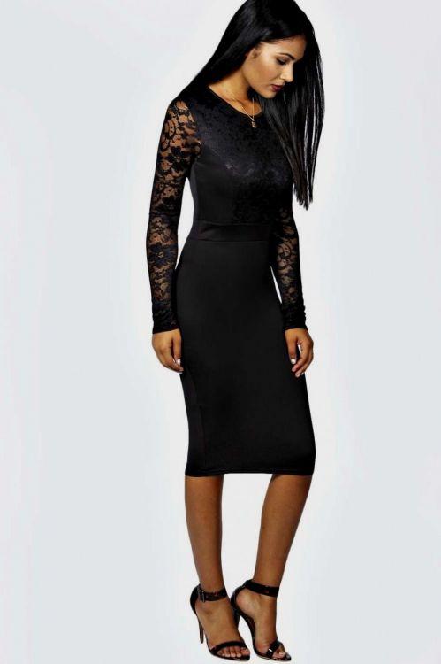 black bodycon midi dress with sleeves 20162017 b2b fashion