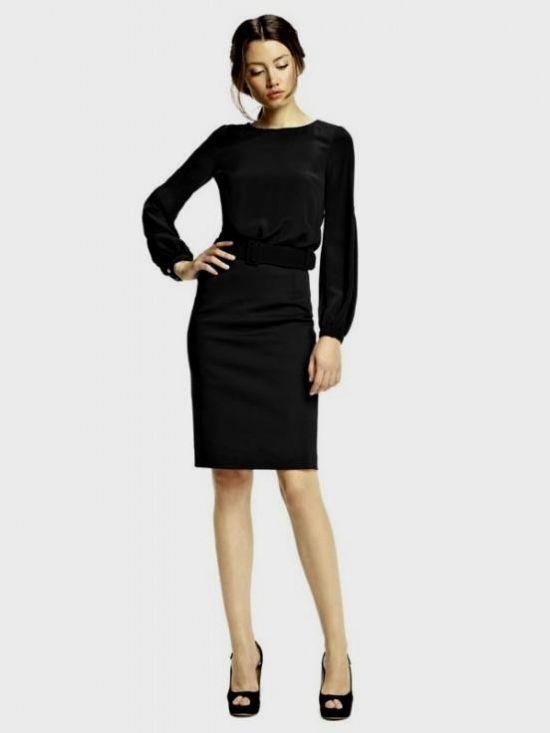 Black Dress With Sleeves Knee Length Looks B2b Fashion